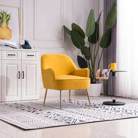 Moda Modern Soft Velvet Material Yellow Ergonomics Accent Chair
