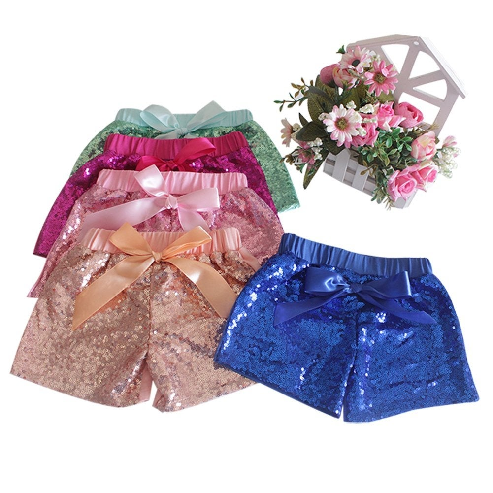 2-3Y Rainbow A-XL Messy Code Baby Girls Shorts Toddlers Short Sequin Pants with Bow