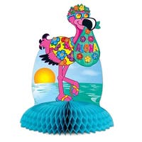 "Club Pack of 12 Bright Multi-Colored Tropical Flamingo Tissue Centerpiece Party Decorations 10"" - Multi"