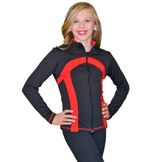ChloeNoel Black Red Thick Stripe Ice Skate Jacket Girl 4-Adult XL