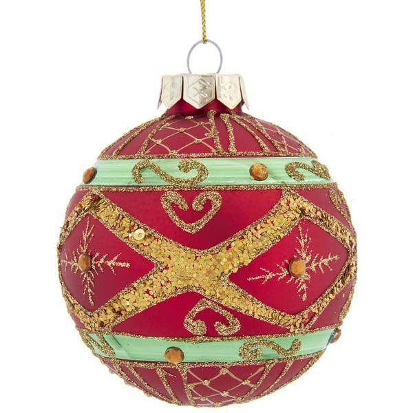 Kurt Adler 80mm Red Green And Gold Glass Ball Ornaments 6 Piece Set Overstock 32043468
