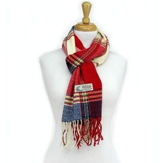 Plaid Cashmere Feel Classic Soft Luxurious Scarf For Men and Women - Red/Navy