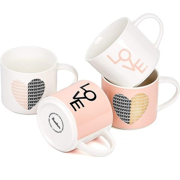Bruntmor Stacking Ceramic Bone China Love Inspirational Coffee/Tea Novelty Mug set 14 Oz. Love Theme gorgeous pastel colors. Opens flyout.