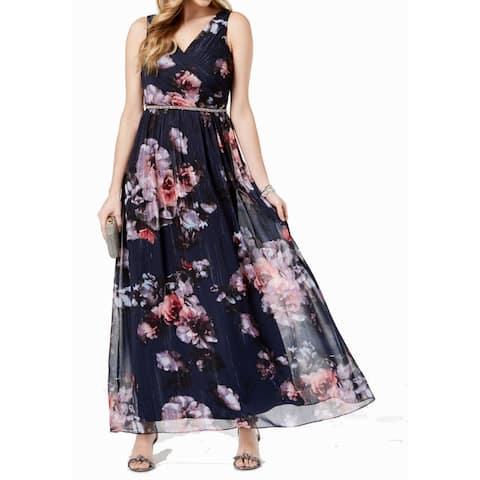 SL Fashions Women's Dress Blue Size 8 Shimmer Bling Waist Floral Maxi