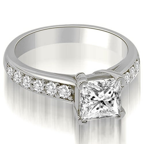 0.80 cttw. 14K White Gold Cathedral Princess Cut Diamond Engagement Ring