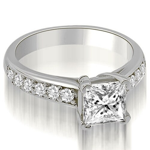 1.05 cttw. 14K White Gold Cathedral Princess Cut Diamond Engagement Ring