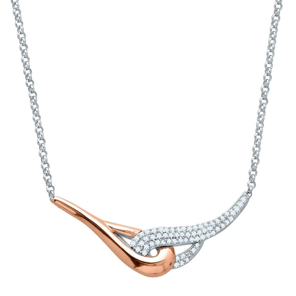 1/5 ct Diamond Necklace in Sterling Silver & 14K Rose Gold