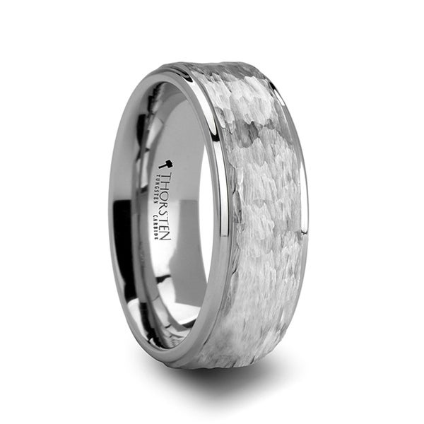 WINSTON White Tungsten Ring with Raised Hammered Finish and Polished Step Edges