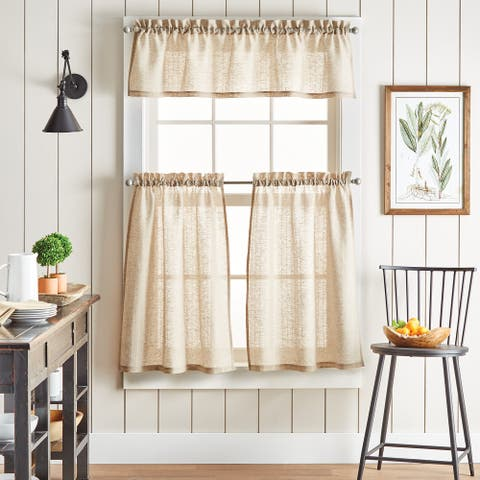 "Martha Stewart Linen Stripe 3-piece Curtain Tier and Valance Set - 1-Valance And 2-36"" Tiers"