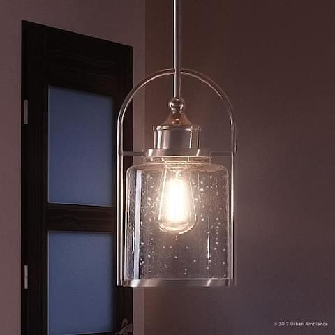 """Luxury Transitional Hanging Pendant Light, 12""""H x 6.5""""W, with Industrial Style, Brushed Nickel Finish - 6.5"""