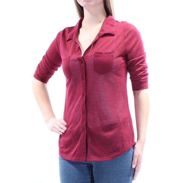 Womens Maroon Short Sleeve Collared Casual Button Up Sweater Size L