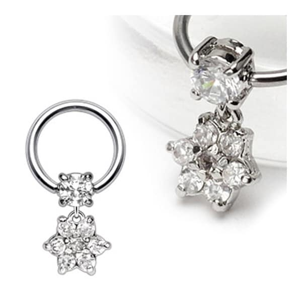 Surgical Steel Captive with 4mm Round CZ and Gem Paved Flower Dangle (Sold Ind.)