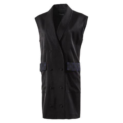Noixte Womens Black Double Breast Buttoned Vest