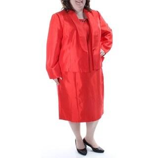 Womens Orange Sleeveless Below The Knee Wear To Work Dress Size: 22W