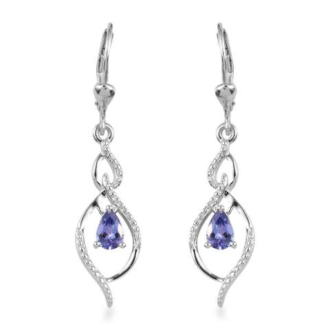Shop LC Platinum Over Sterling Silver Blue Tanzanite Earrings Ct 1.6