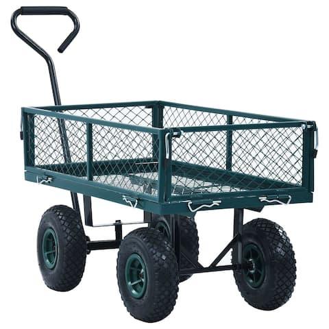 "vidaXL Garden Hand Trolley Green 551.2 lbs - 33.9"" x 18.3"" x 38.2"""