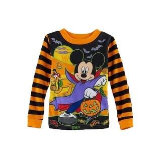 Disney Little Boys Mickey Mouse Halloween Vampire Striped Orange Shirt 2T
