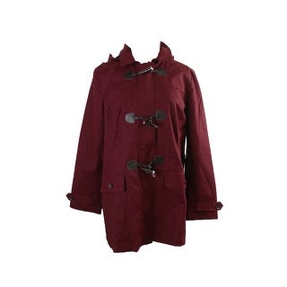 Charter Club Red Hooded Plaid-Lined Toggle Trench Coat XL