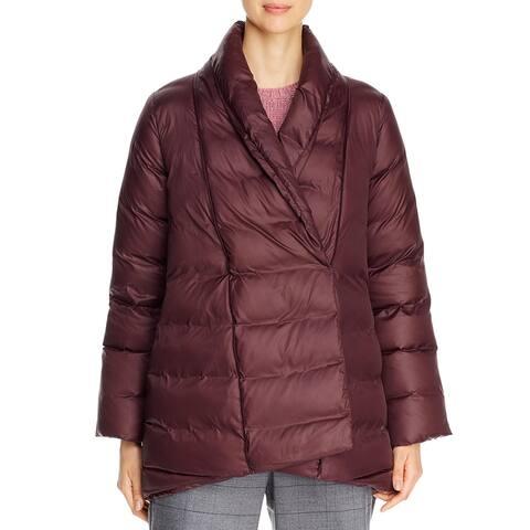 Eileen Fisher Womens Down Coat Winter Shawl Collar - Casis