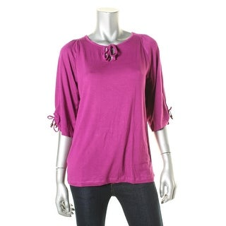 Everly Grey Womens Robyn Smocked Keyhole Tunic Top - XS