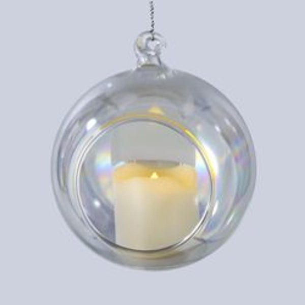 """3.5"""" Battery Operated Votive Candles in Glass Ball Christmas Ornaments"""