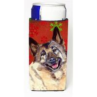 Norwegian Elkhound Red and Green Snowflakes Holiday Christmas