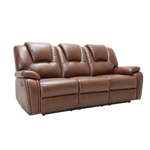 Traditional Brown Faux Leather Upholstered Reclining Loveseat