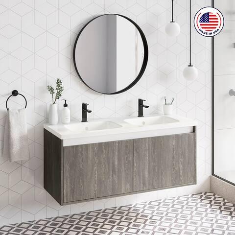 """48"""" Modern Bathroom Vanity Cabinet Village Set WF446 Charred Oak Wood W 48 X H 20 X D 18 in cabinet + double sink"""