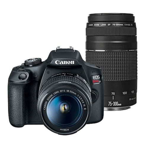 Canon Rebel T7 DSLR Camera with EF-S 18-55mm and EF 75-300mm Lens