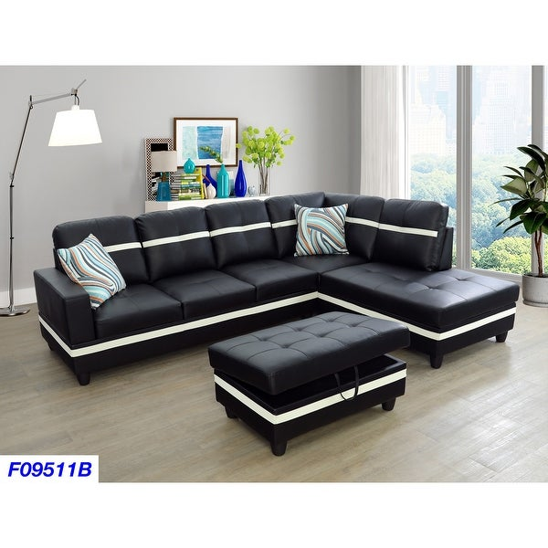 Black Right-facing 3-piece Sectional Sofa. Opens flyout.