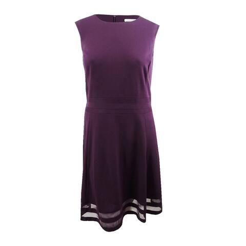 Calvin Klein Women's Fit & Flare Illusion-Trim Dress