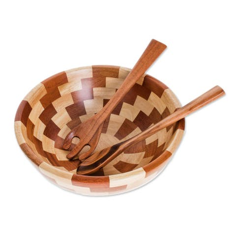 "Handmade Home Freshness Wood Salad Bowl And Servers (Guatemala) - 4.1"" H x 10.75"" Diam."