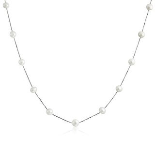 Bling Jewelry Bridal .925 Sterling Silver Freshwater Cultured Pearl White Tin Cup Necklace