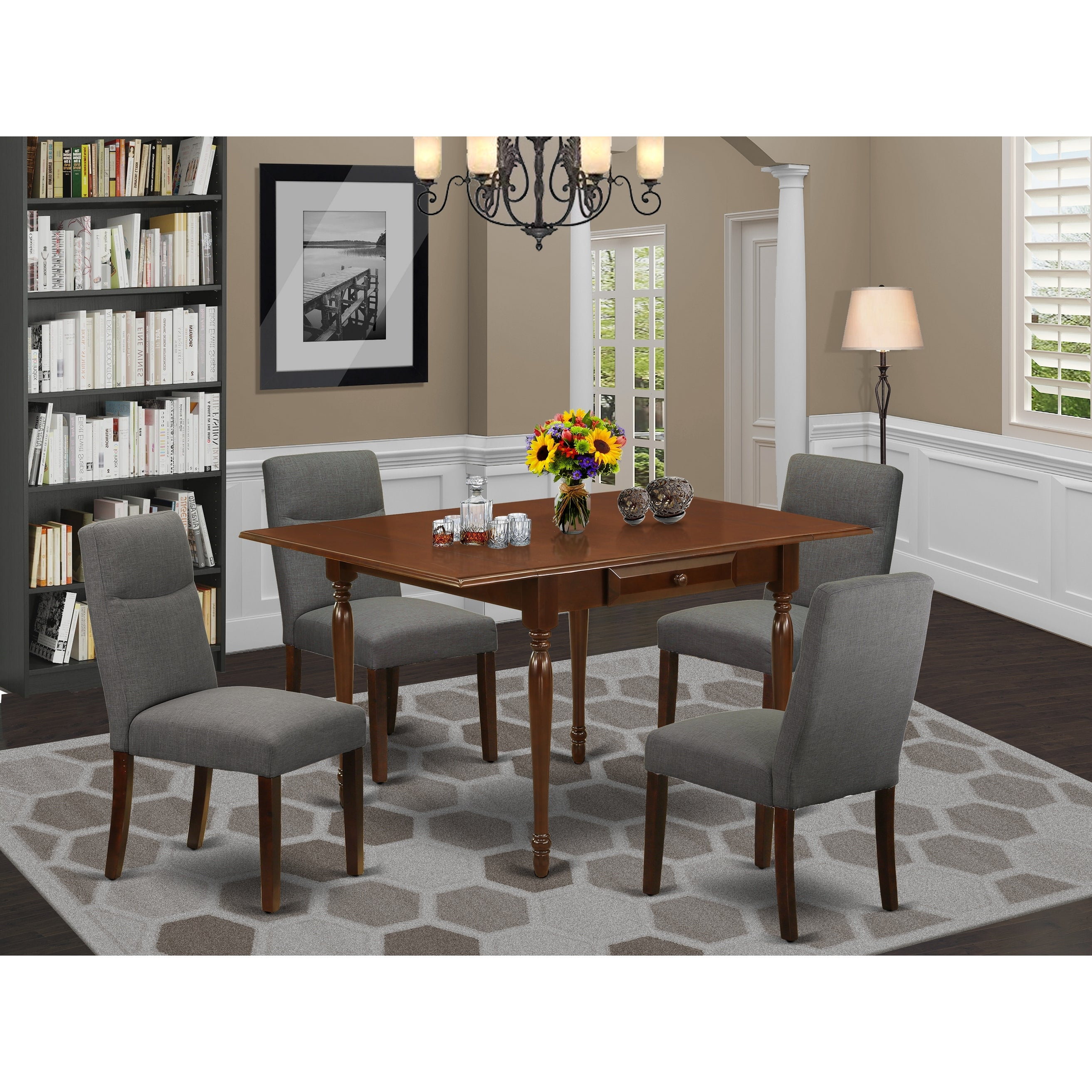 Shop Black Friday Deals On Small Kitchen Table And Upholstered Dining Chairs With Shitake Color Linen Fabric Upholstery Seat Number Of Chairs Option Overstock 32448740