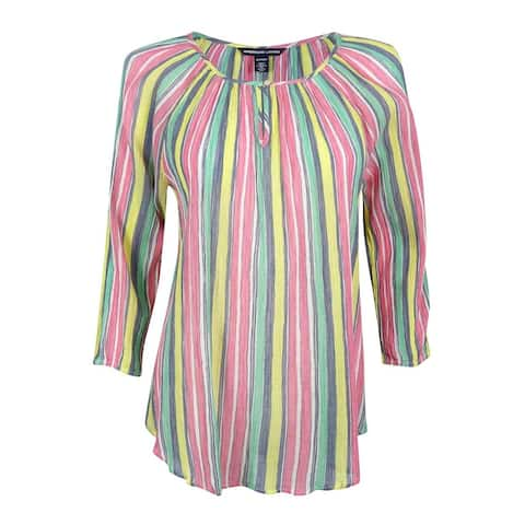 American Living Women's Striped Keyhole Top - Multi - XS