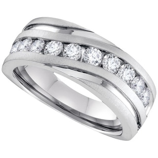 10k White Gold Mens Natural Round Diamond Channel-set Wedding Anniversary Band 1/4 Cttw