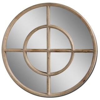 "37"" Light Walnut Reclaimed Wood Round Beveled Wall Mirror - Brown"