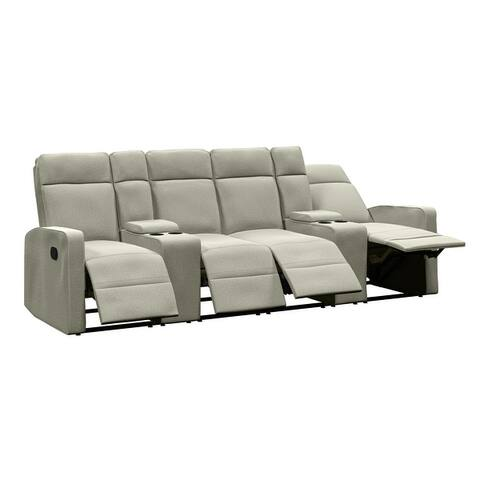 Copper Grove Aaron 4-seat Chenille Recliner Sofa with Storage Consoles