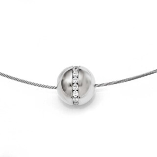 Chisel Titanium CZ Pendant with Polished Stainless Steel Wire Necklace (15 mm) - 16 in