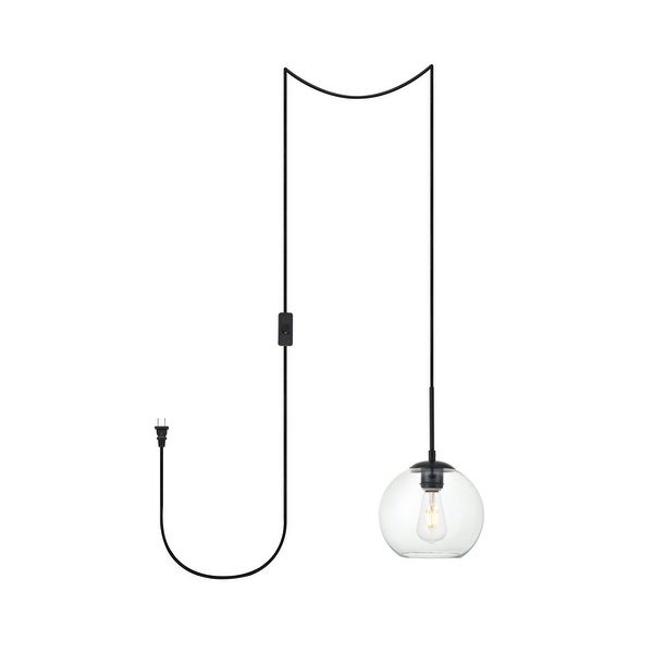 """Brad 1-Light Plug in Pendant with Clear Shade - Black - 8"""" Diameter. Opens flyout."""