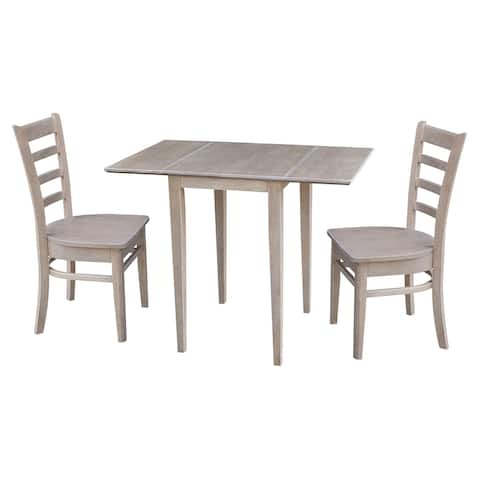 Small Dual Drop Leaf Table with Two Chairs, Washed Gray Taupe