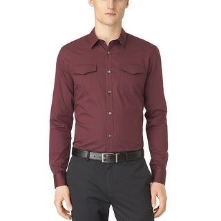 Calvin Klein CK Button Front Shirt Large L Framboise Burgundy Striped