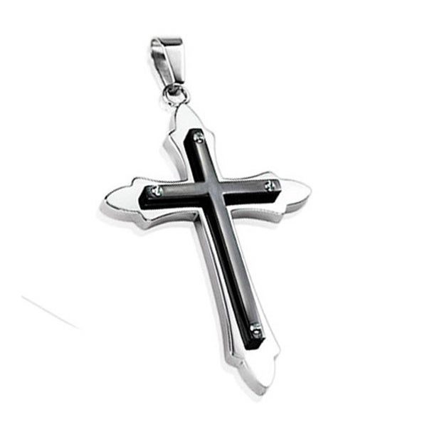Stainless Steel Black Plated Cross Bolted on Tribal Cross Pendant (38 mm Width)