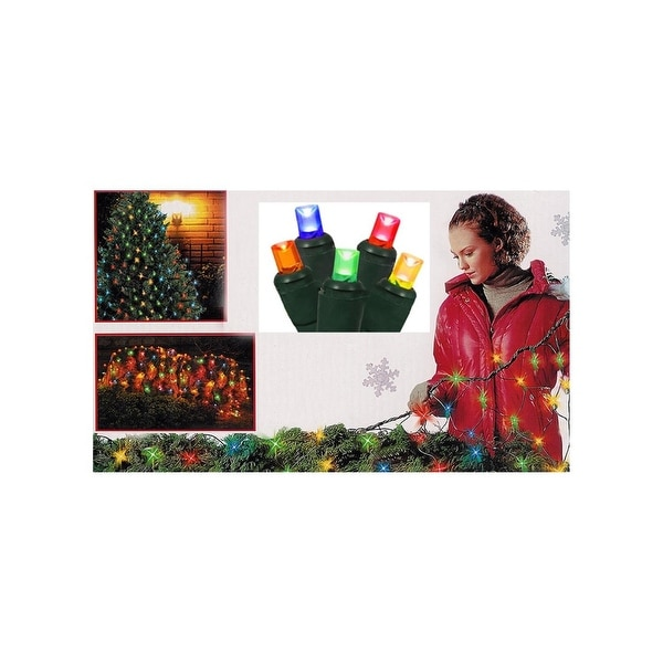 4' x 6' Multi-Color Twinkling LED Net Style Tree Trunk Wrap Christmas Lights - Green Wire - multi