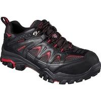Skechers Men's Work Delleker Steel Toe Waterproof Sneaker Black/Red