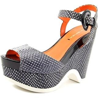 Via Spiga Aubrey Women Open Toe Leather Black Wedge Sandal