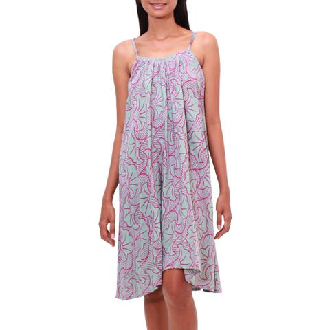 NOVICA Rayon batik sundress Gingko Leaf