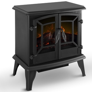 "DELLA 20"" Freestanding Portable Electric Fireplace Stove Heater Infrared Quartz Log Flame Realistic Flame Effect 1400W"