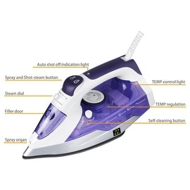 ZZ ES2331-P Advantage Steam Iron Motion-Activated 1400-Watt Auto-Off, Purple