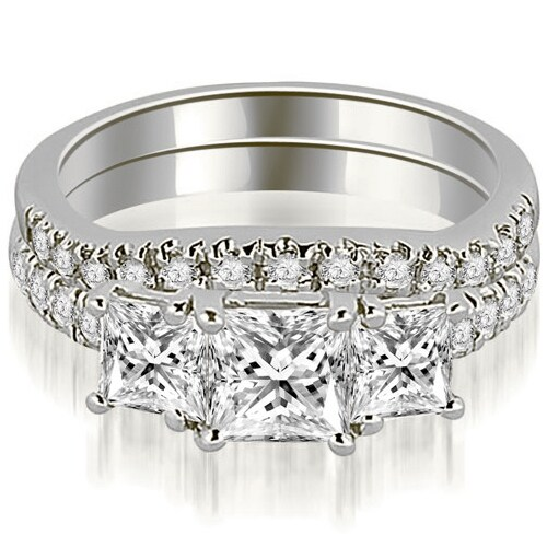 1.65 cttw. 14K White Gold Lucida Three-Stone Princess Cut Bridal Set
